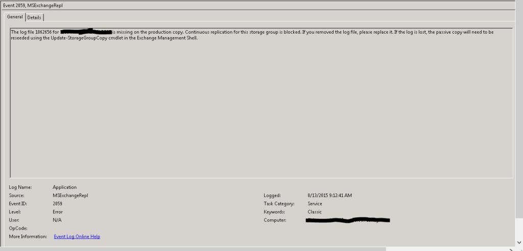Update-StorageGroupCopy issue