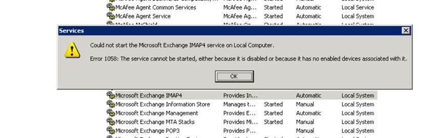 IMAP Service error
