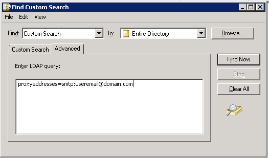 Screen Shot of the LDAP query in when looking for a duplicate address