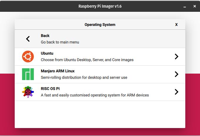 shows where to choose Ubuntu