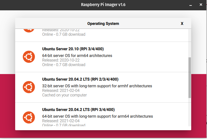 shows which version of Ubuntu server to choose